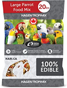 Hagen Tropimix Bird Food, HARI Large Parrot Food with Seeds, Fruit, Nuts, Vegetables, Grains, and Legumes, Enrichment Food