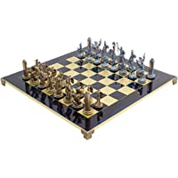 Grand De Luxe Bleu Poseidon Grecque Set D'échecs avec 4.25 pouce king size et laiton et nickel échecs