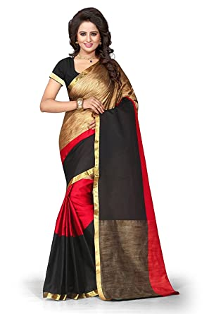 9c3a17dbbc662 Vishnu Creations Women s Cotton Silk Saree with Blouse Piece Combo (Red  Black Gold