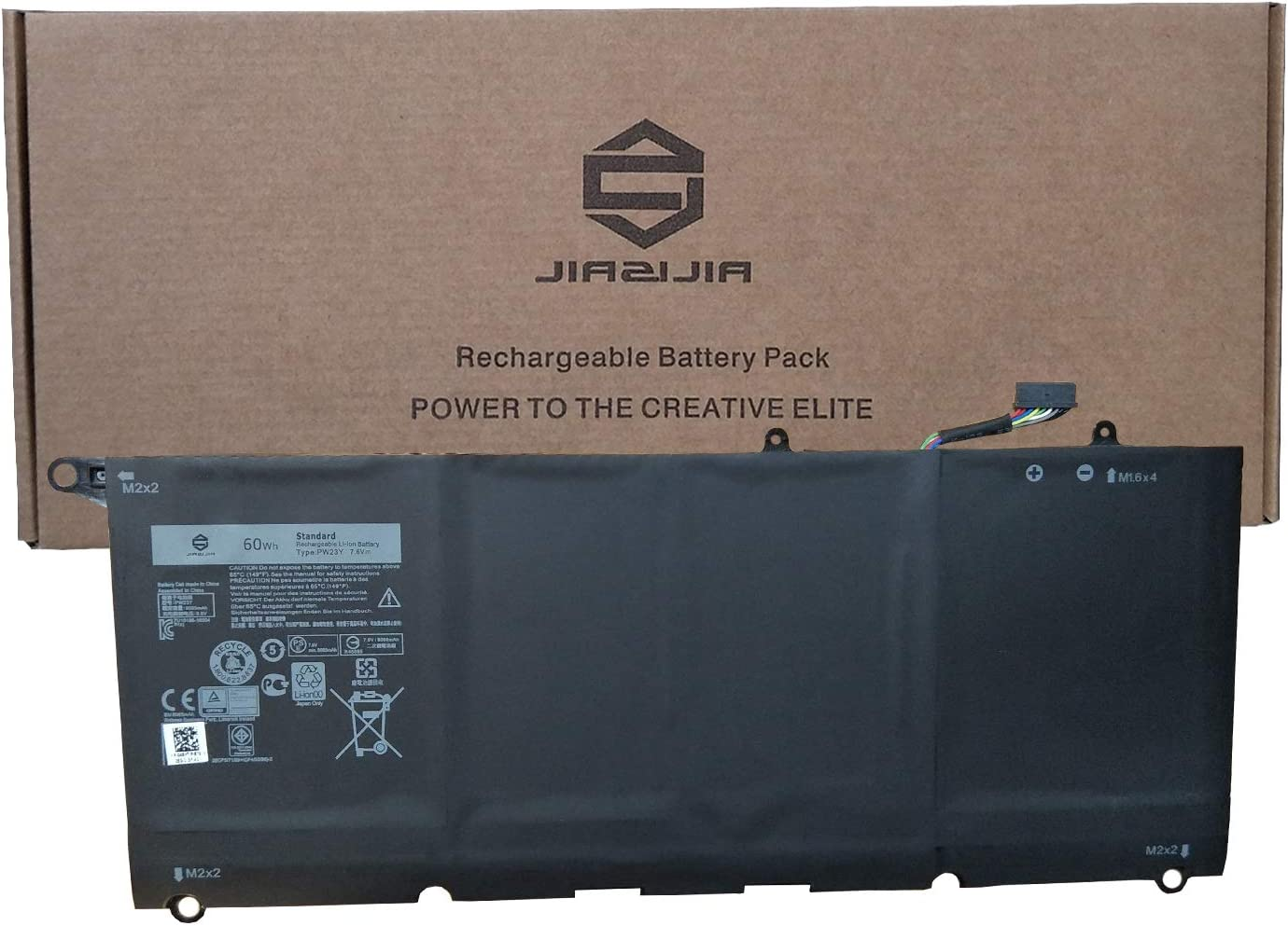 JIAZIJIA PW23Y Laptop Battery Replacement for Dell XPS 13 9360 XPS 13 2017 Series Notebook RNP72 TP1GT Black 7.6V 60Wh 8085mAh 4-Cell
