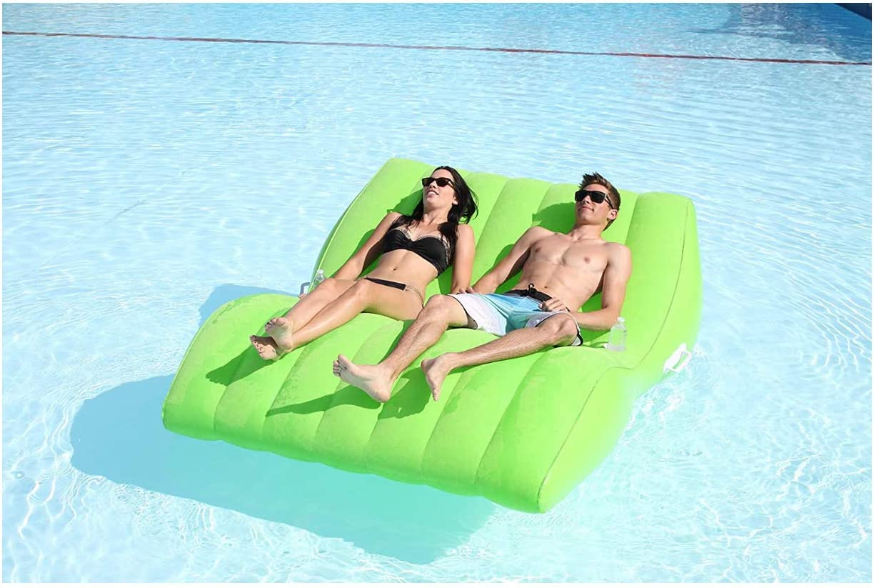UNIVERSAL LTD Double Lounge Suntan TUB Pool Floats for Adults with Cup Holder Quick Inflation//DEFLATION