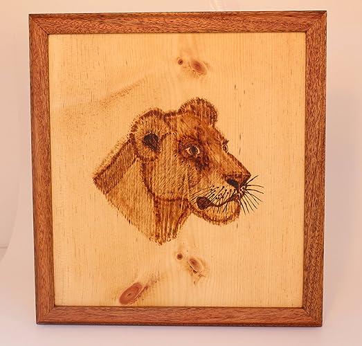 lion wood burning with mahogany frame - Wood Burning Picture Frame