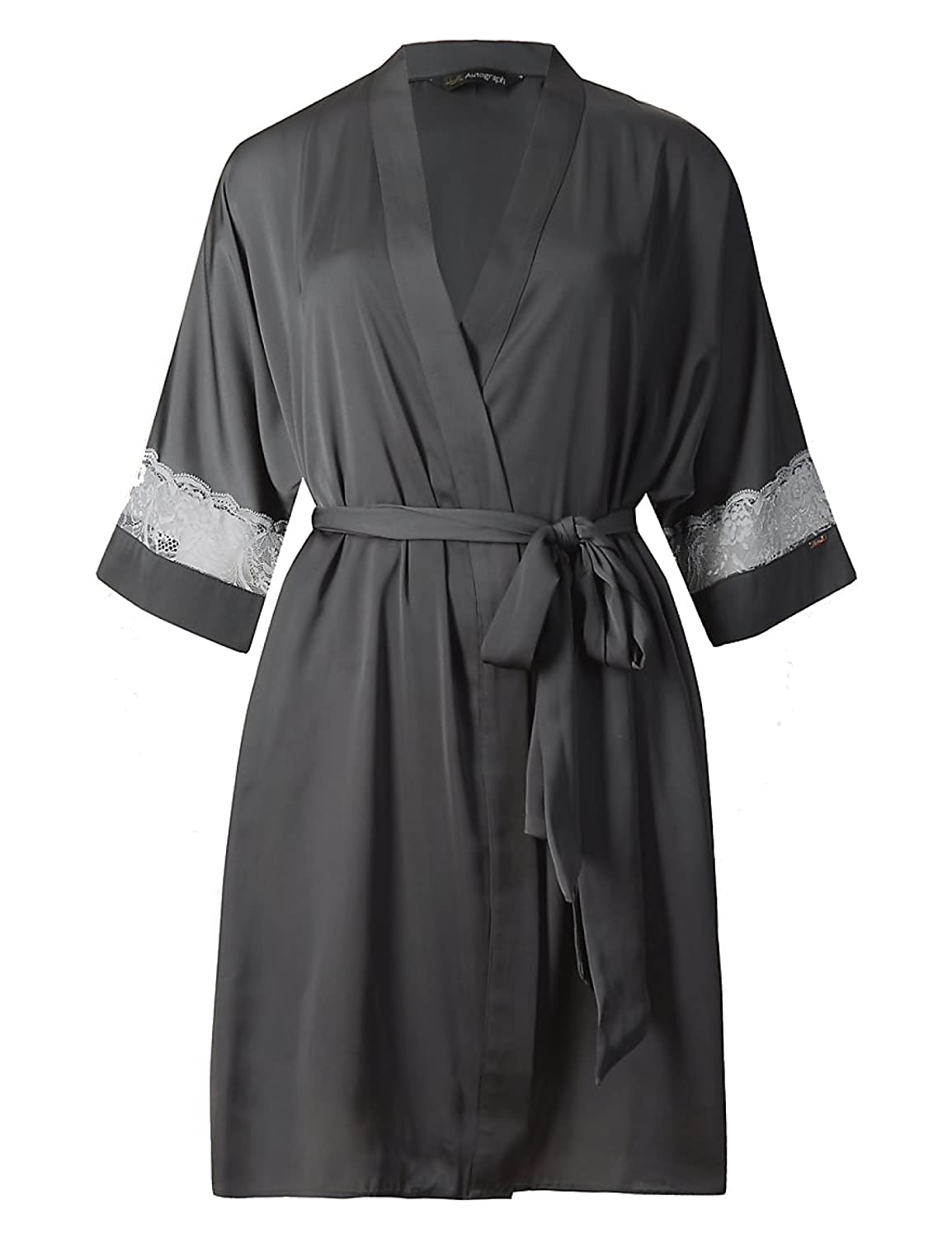 Marks and Spencer Rosie Autograph Satin Lace Insert Dressing Gown ...