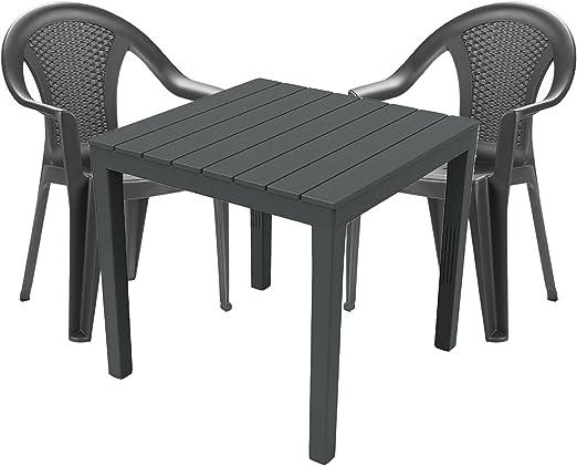 Mojawo Mobiliario de jardín 3 piezas – Mesa de jardín PLÁSTICO 79 x 79 h72 cm – + 2 sillas apilables – Plástico gris – Bistro Set – Comedor – Silla apilable: Amazon.es: Jardín