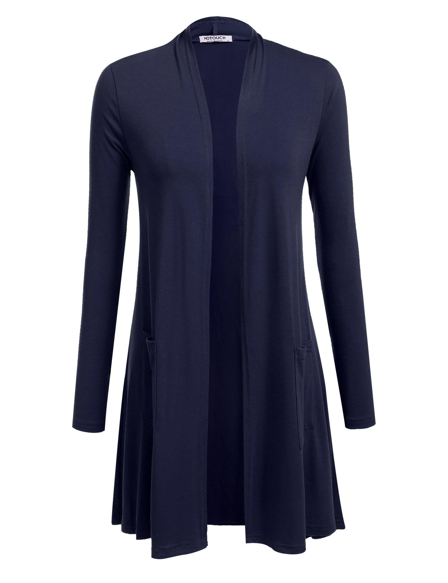 Hotouch Women's Basic Solid Lightweight Long Sleeve Open Front Cardigans Navy Blue M