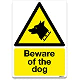 Beware of the dog Sign Warning Safety Self-adhesive Vinyl Sticker (A6 105 x 148mm)