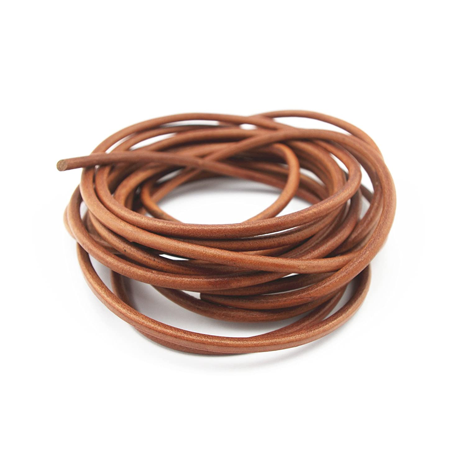 Glory Qin Distressed Brown Color Soft Round Genuine Jewelry Leather Cord Leather Rope 2mm 20 Yards