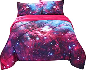 Encoft 3D Galaxy Comforter Set Red and Blue Stars Outer Space Galaxy Quilt Set, 3 Pieces Twin Size Kids Galaxy Bedding (Twin, Galaxy)