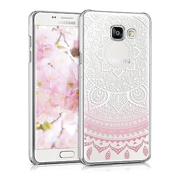 kwmobile Funda para Samsung Galaxy A5 (2016) - Carcasa de plástico para móvil - Protector Trasero en Rosa Claro/Blanco/Transparente