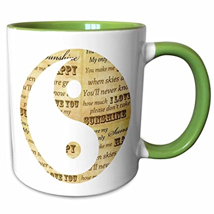 Buy 3drose Ps Inspirations You Are My Sunshine Yin Yang Inspirational Art 15oz Two Tone Green Mug Mug 110508 12 Online At Low Prices In India Amazon In