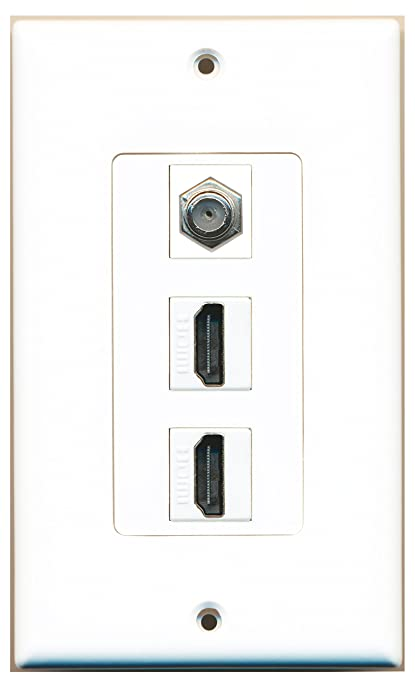 RiteAV - 2 Port HDMI 1 Coax Cable TV- F-Type Decorative Wall Plate