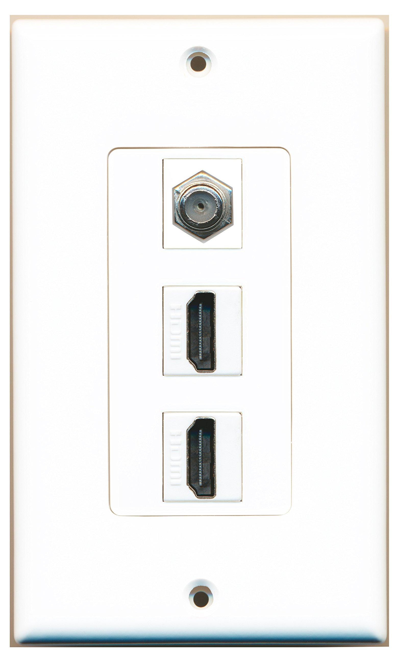 RiteAV - 2 Port HDMI 1 Coax Cable TV- F-Type Decorative Wall Plate