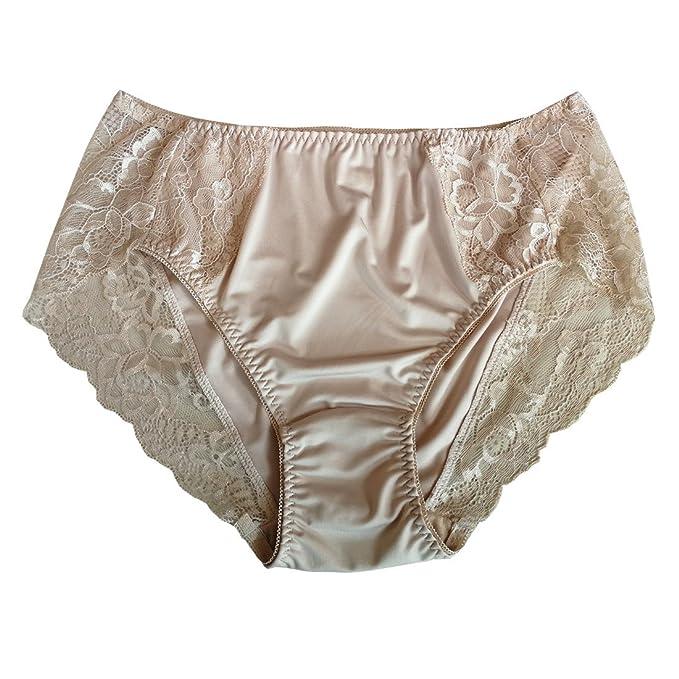 f78c7156962 Lasricas Women s Plus Size Briefs Hi Cut Full Brief Panty Lace Trimmed Milk  Protein Fiber Underwear