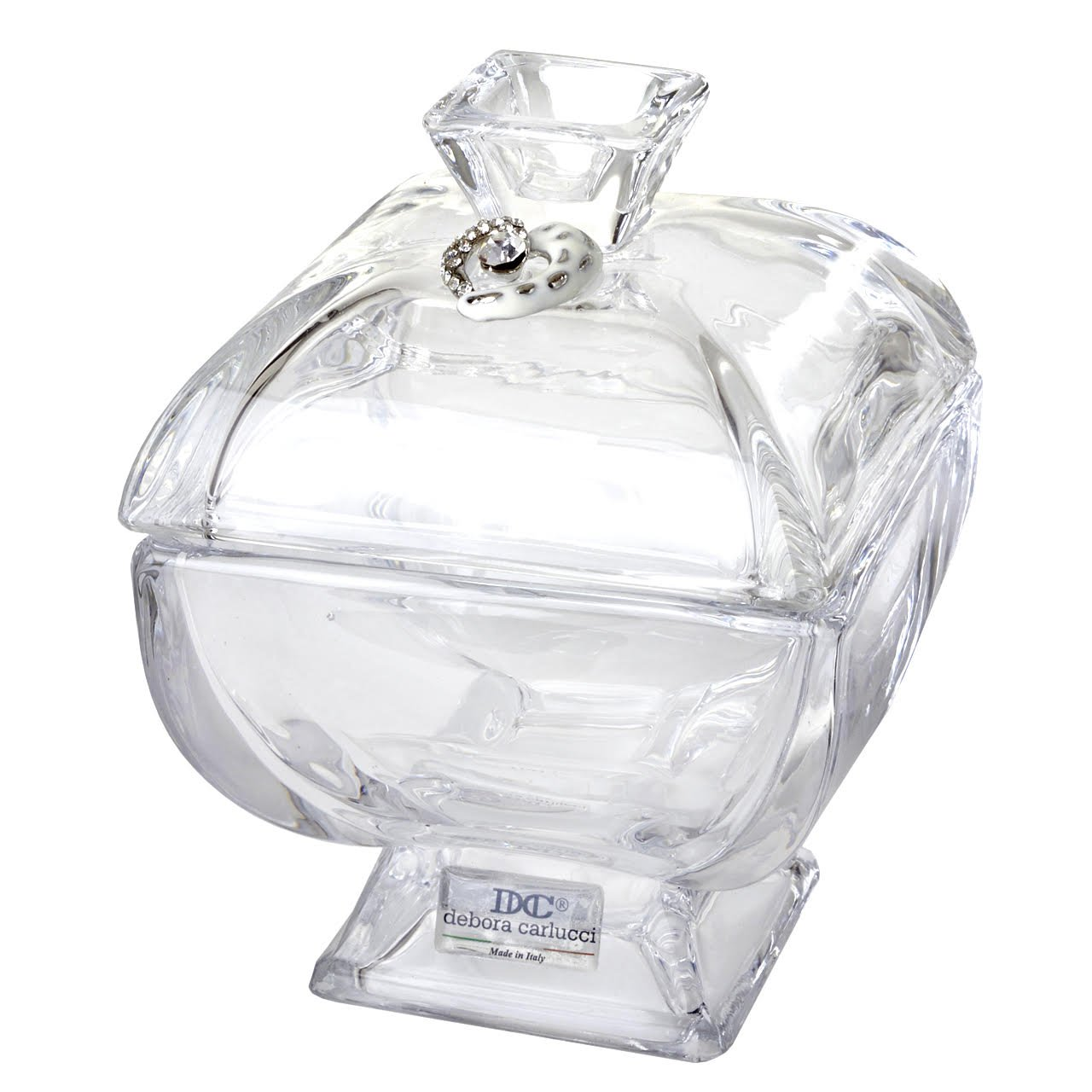 5th Avenue Collection Italian Crystal Candy Dish, Candy Bowl With Porcelain Heart and Swarovski Accents, Made In Italy 5th Ave Store 1715H