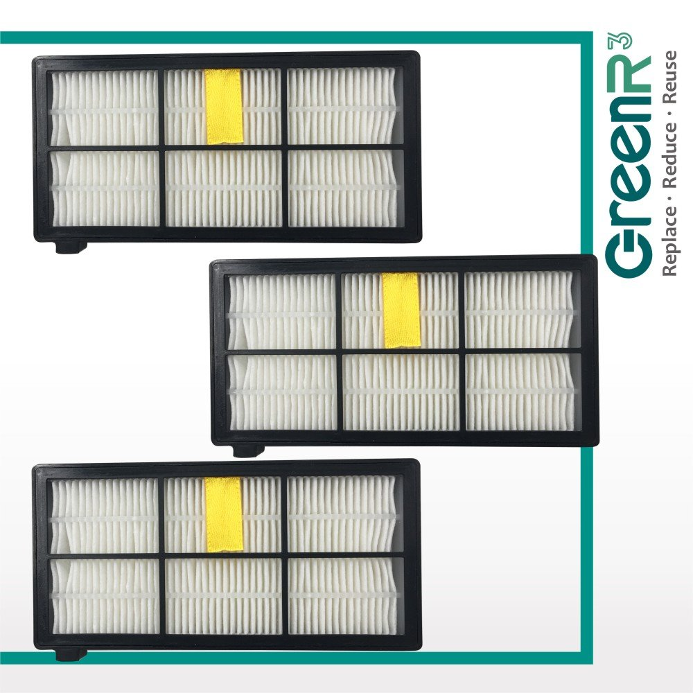 GreenR3 3-PACK Air Filter True HEPA for iRobot 4415864 Fits Roomba 800 805 860 870 880 890 900 960 AeroForce Model Series Replacement Cleaning Tool Accessories Parts Vacuum Replenishment and more Compatible