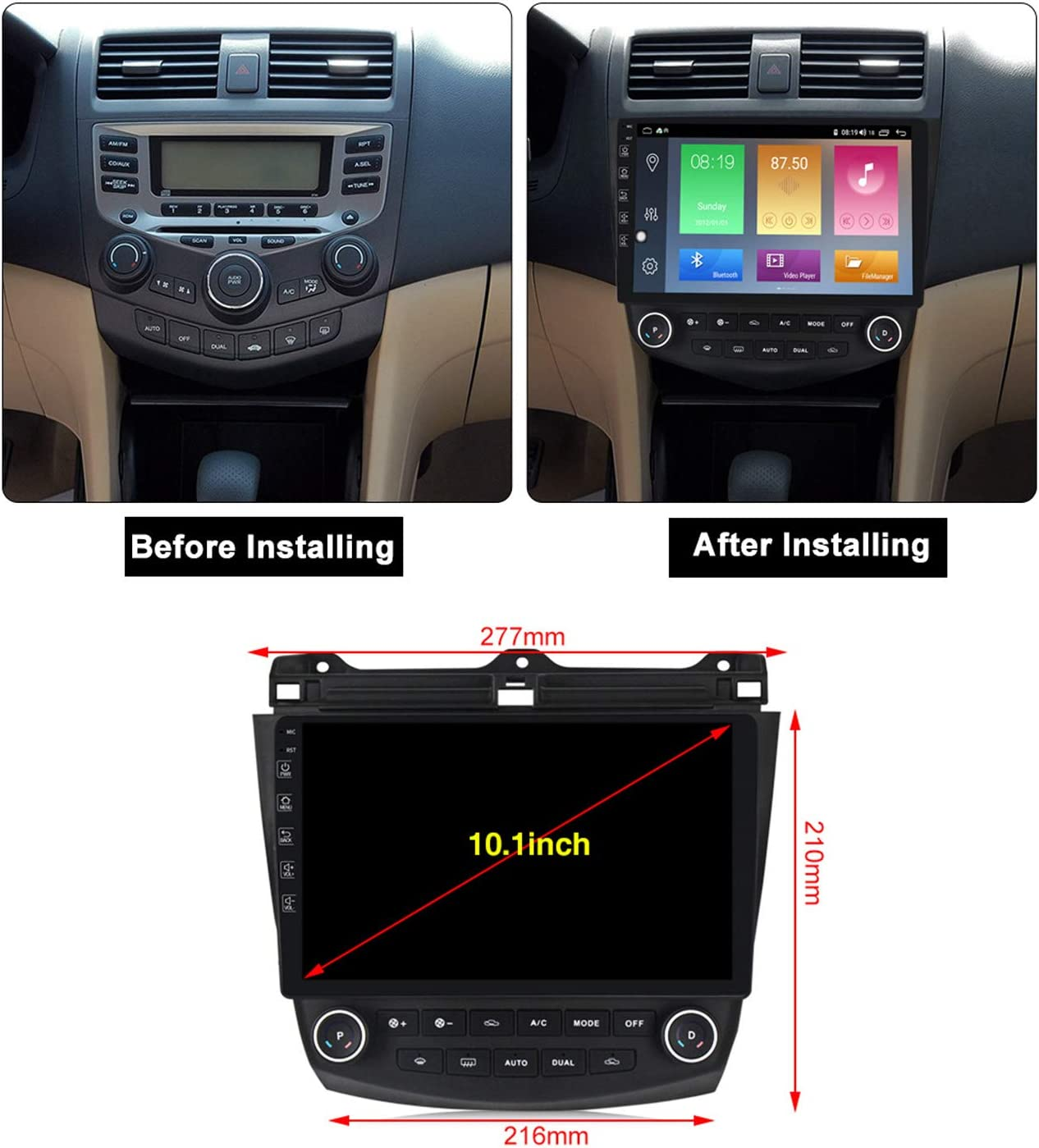 MekedeTech Android 10.0 Car Radio Stereo Player 10.1 inch Touch Screen GPS Navigation Built-in DSP Bluetooth Head Unit for Honda Accord Supports Full RCA Output Backup Camera WiFi OBD2 DVR TPMS