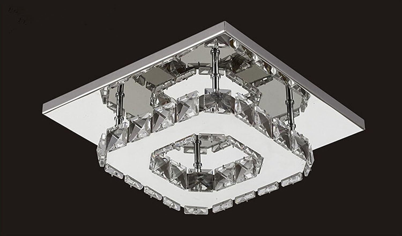 Egomall Deckenleuchte Kristall Deckenleuchte Edelstahl LED-Spiegel 12W Kristallleuchter