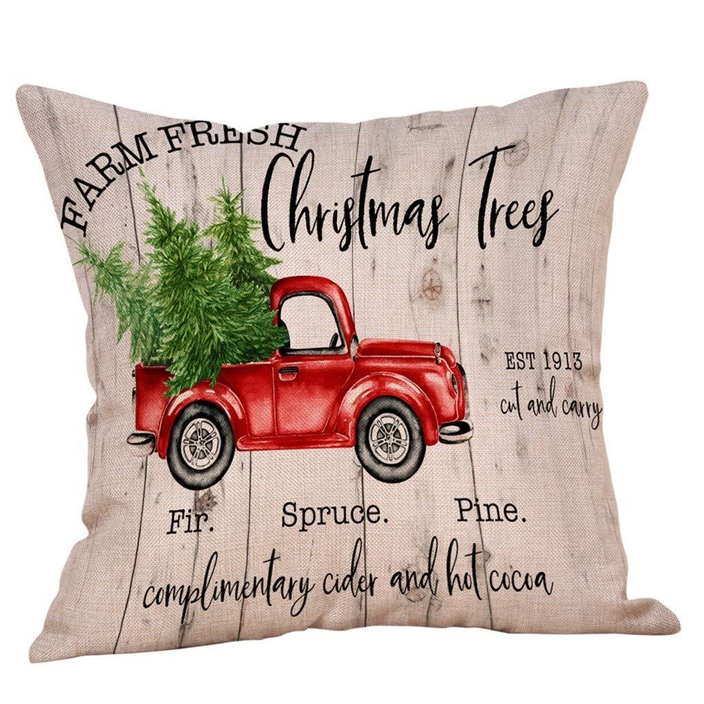 DOLLAYOU Weihnachten Deko Kissenbezug Leinen Hirsch Rentier Elch Christmas Kissenbez/üge Landhaus Wohnzimmer Cars Auto Hause Kissenh/üllen 45X45 cm