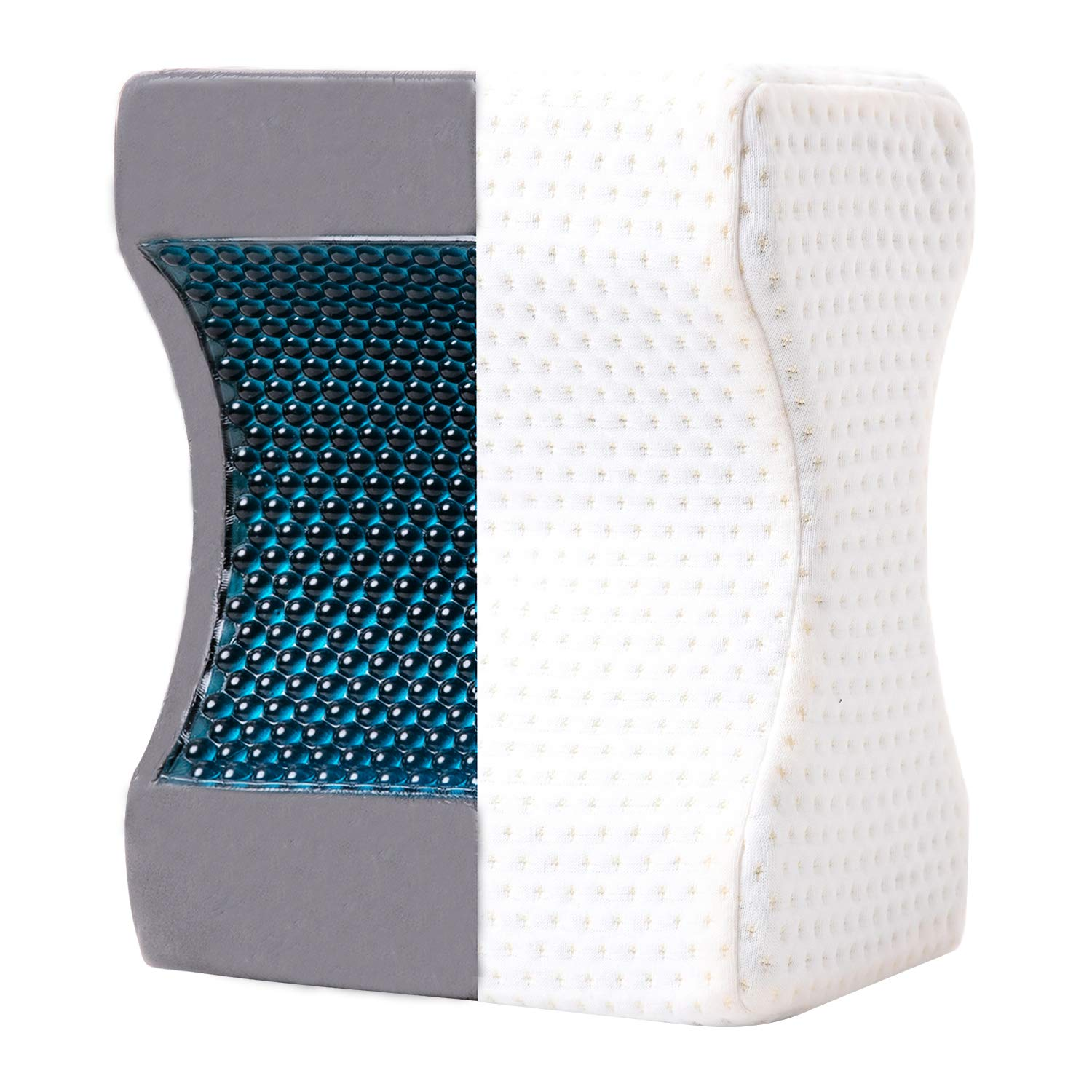 JuMeiHui Cooling Knee Pillow by Side Sleepers for Sciatica Relief, Back Pain, Leg Pain, Pregnancy, Hip and Joint Pain. Memory Foam with Cooling Gel (Removable and Washable Cover)