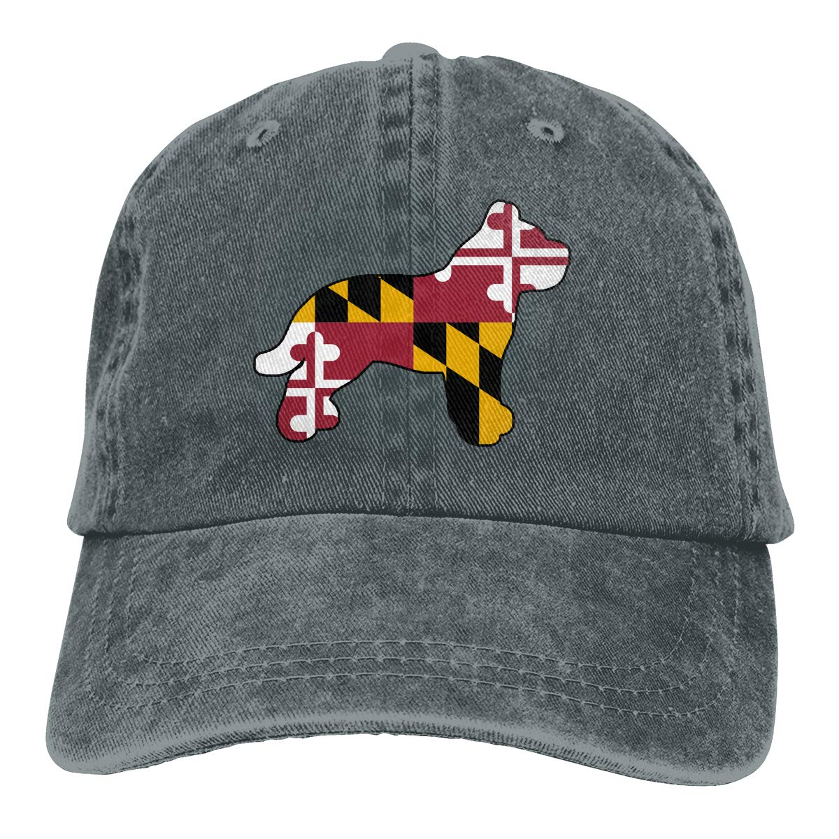 Maryland Flag Pitbull Mens Womens Adjustable Yarn-Dyed Baseball Cap Hip-hop Cap
