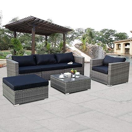 Amazon Com Tangkula Patio Furniture Set 6 Piece Outdoor Lawn