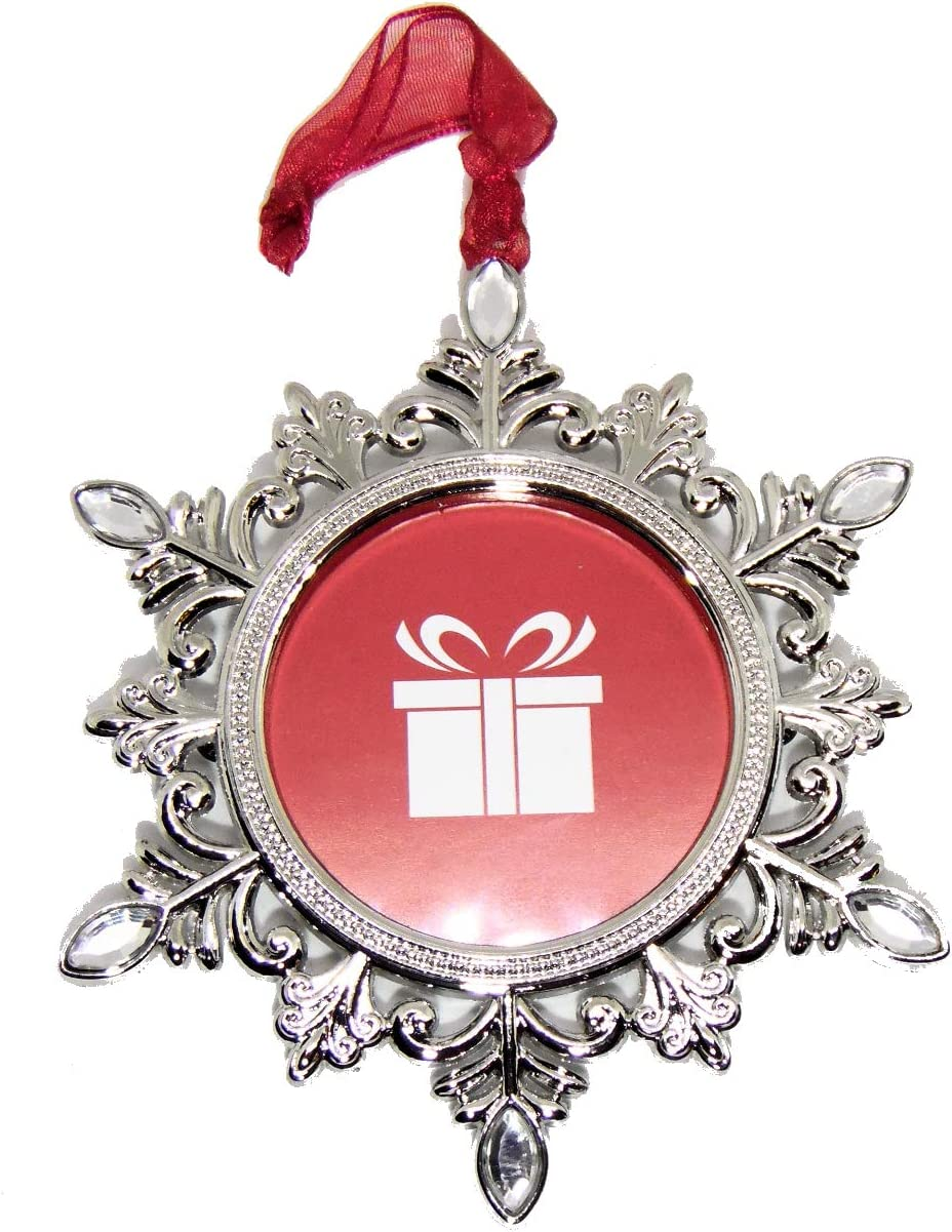 Studio Decor Silvertone Snowflake Shaped Photo Frame Christmas Ornament Photo Metal and Rhinestones