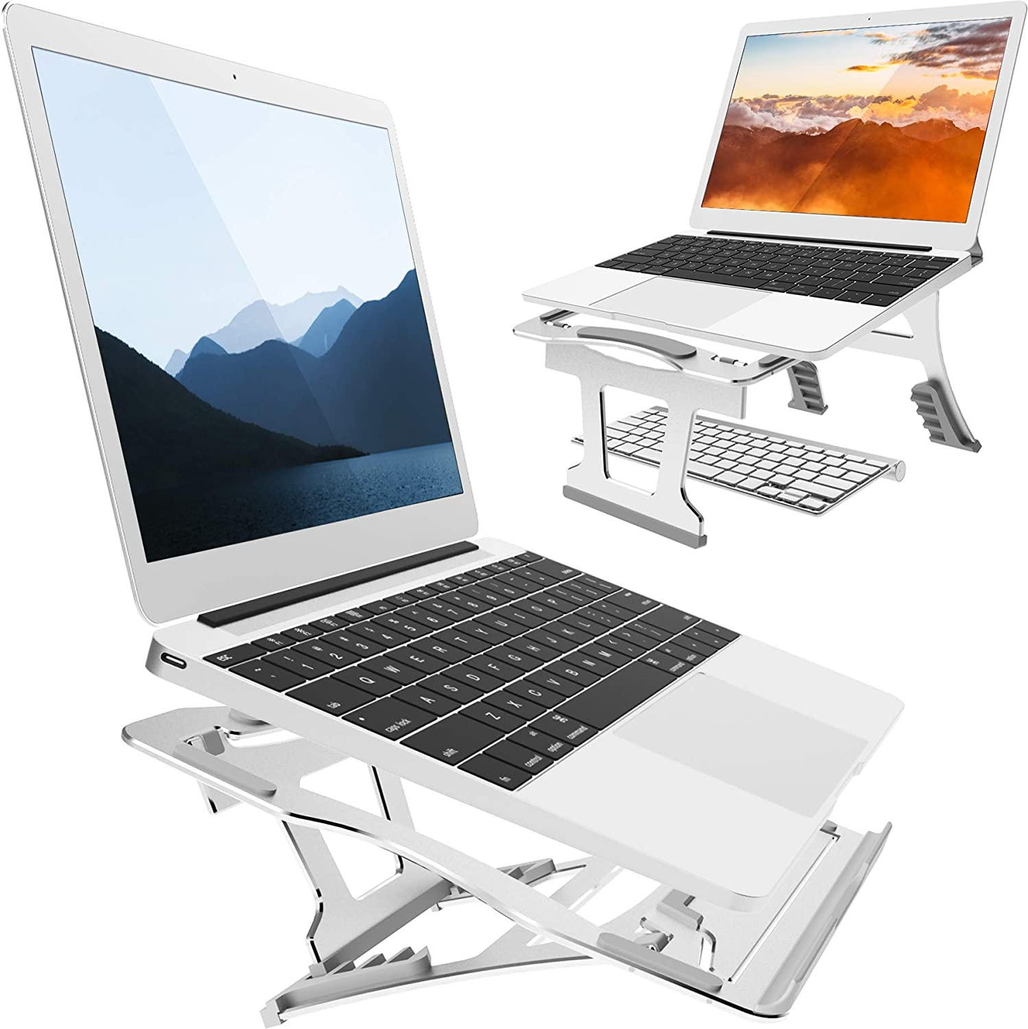 2 in 1 Laptop Stand for Desk, 3 Folding Modes, 9 Angles Adjustable. Portable Ergonomic Aluminum Laptop Stand. Free from Install. for Laptop 10''~15.6'', Suitable for Long Time of Laptop Using(Silver)