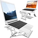 "Muse Aluminum Transformable Laptop Stand, Convertible Laptop Riser Ventilated Notebook Holder Stand Compatible with MacBook Air/Pro Dell XPS HP Lenovo etc. for 10-17"" Laptop Computer (Silver)"