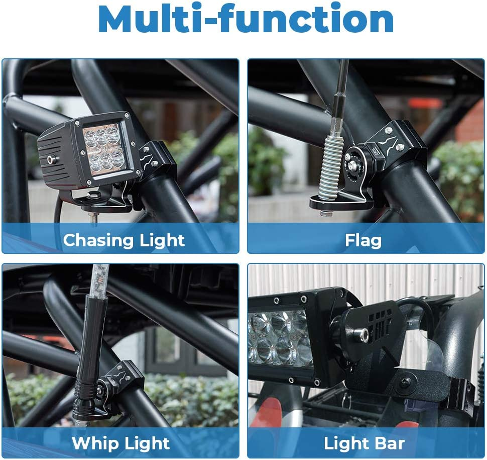 Heavy Duty Adjustable UTV Flag Mount//Whip Light Mount for 1.75 to 2 inch Roll Bar Universal fits all UTV Polaris RZR 900 1000 Can Am Commander