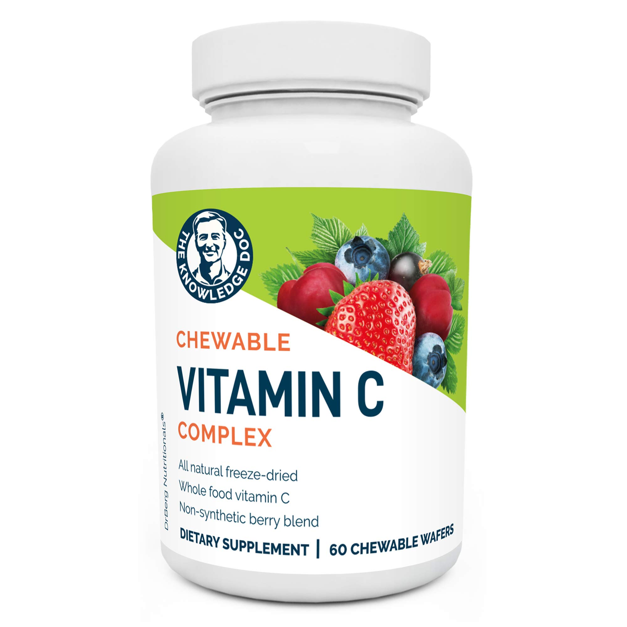 Dr. Berg's Vitamin C Complex Whole Food (60 Chewable) 100% Natural Vitamin C from Just 4 Berries, Non-GMO