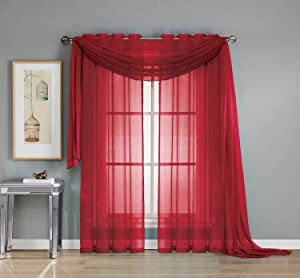 Empire Furniture USA Elegant Mary 1 Peace Scarf Valance Soft Sheer Voile Window Panel Curtain - 216