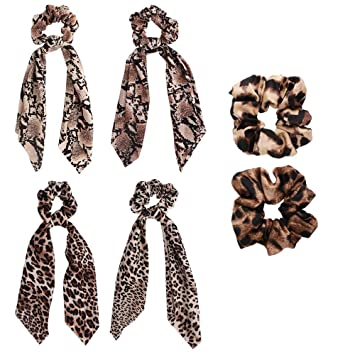 Ladies Leopard Scarf Bow Elastic HairBand Hair Rope Tie Scrunchies Decor Perfect