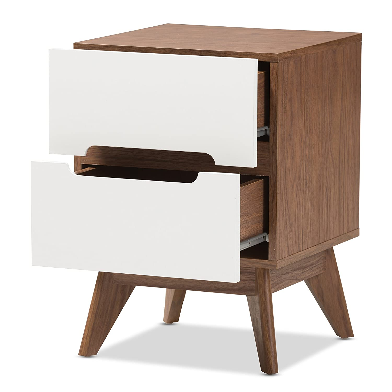 Baxton Studio 424-7504-Amz Helene Mid-Century Modern Wood 3-Drawer Storage Nightstand White//Walnut Brown Wholesale Interiors