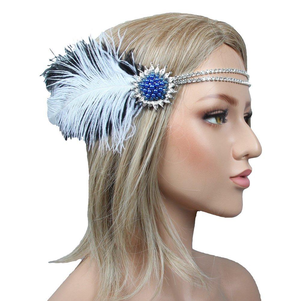 ACTLATI Retro Fascinator Beads Flower Feather Headband Rhinestones Cocktail Tea Party Hairband