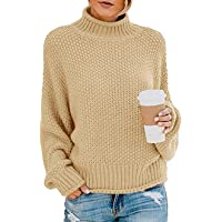 TECREW Womens Turtleneck Chunky Batwing Sleeve Sweaters Color Blocked Oversized Knitted Pullover Jumper