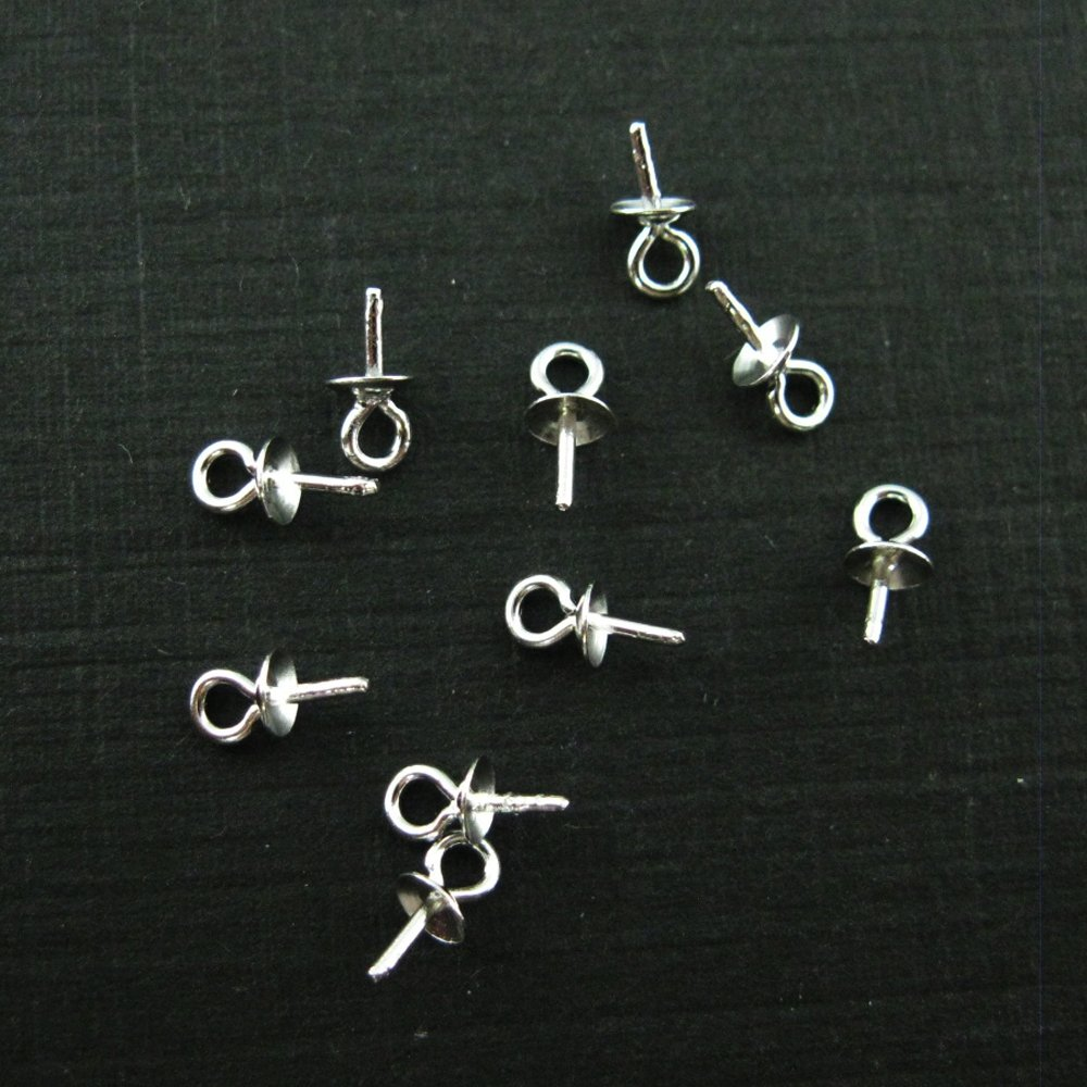Sterling Silver Peg Bail Caps for Half Drilled Pearls and Beads (40 Pcs) BeadUnion 210011