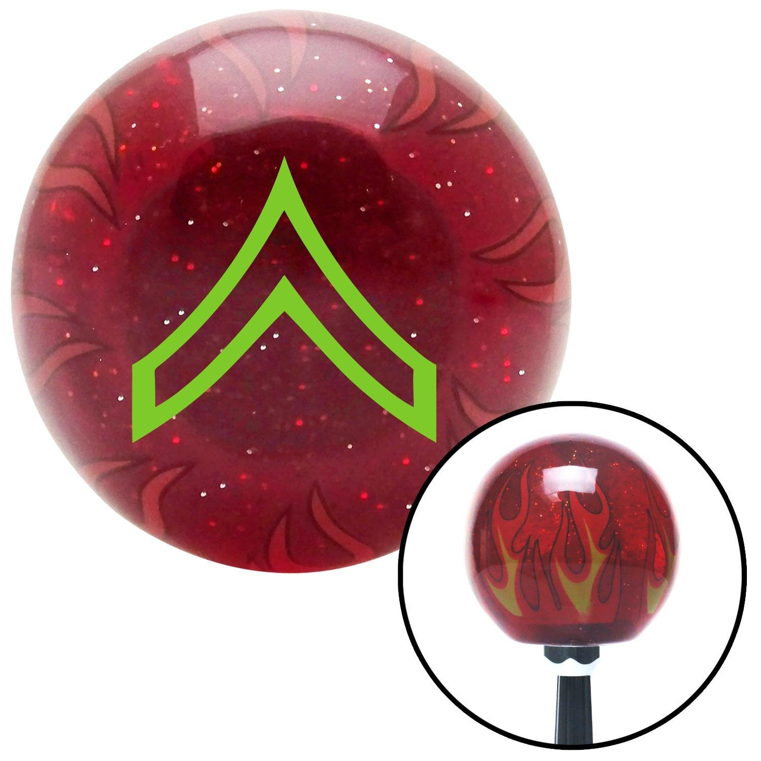 American Shifter 241327 Red Flame Metal Flake Shift Knob with M16 x 1.5 Insert Green Private