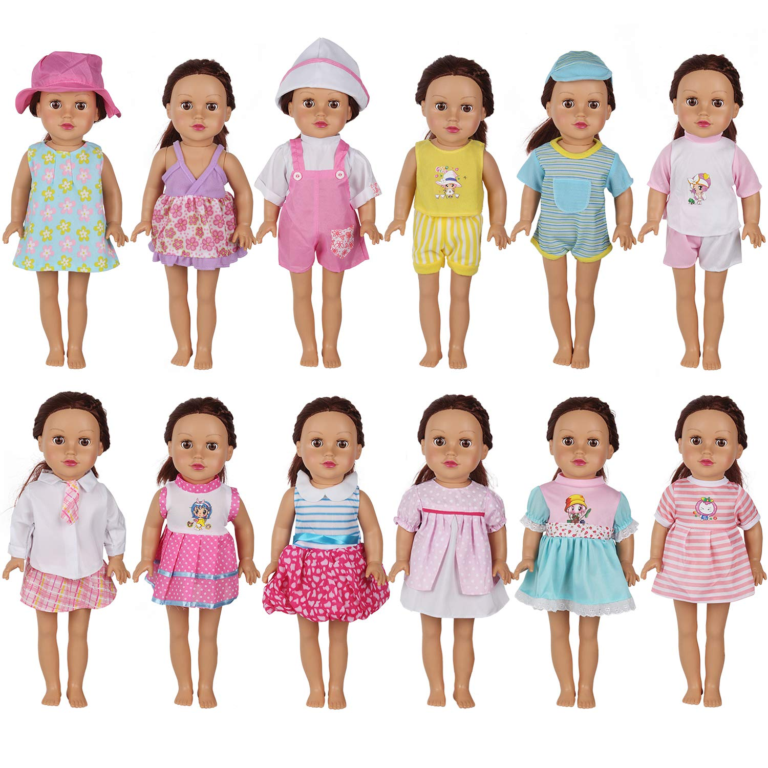 c6d576aa9173d Huang Cheng Toys Set of 12 Handmade Lovely Baby Doll Clothes Dress Outfits  Costumes ...