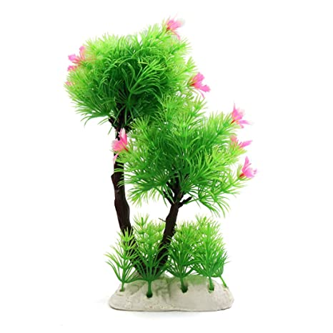 sourcingmap Flores De Árbol De Plástico Peces De Acuario Tanque De Acuático Decoración W/Soporte