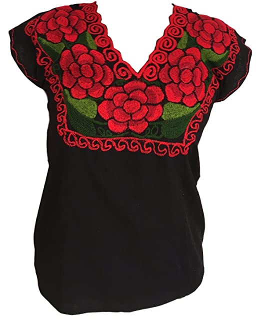 aee39b0e957f Casa Fiesta Designs Floral Mexican Blouse - Authentic Embroidered Chiapas  Blouse - 100% Handmade -