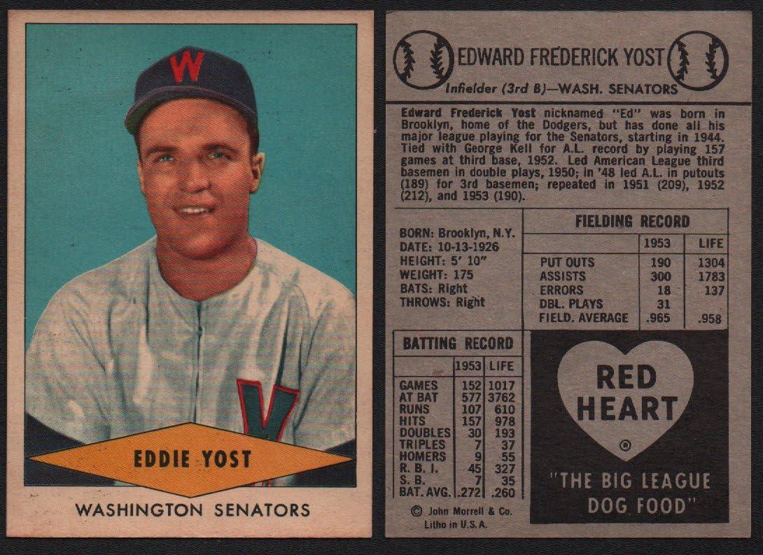 1954 Red Heart Dog Food Regular (Baseball) Card# 32 Eddie Yost of the Washington Senators NrMt Condition