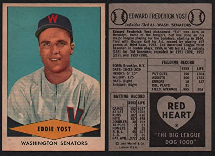 1954 Red Heart Dog Food Regular Baseball Card 32 Eddie