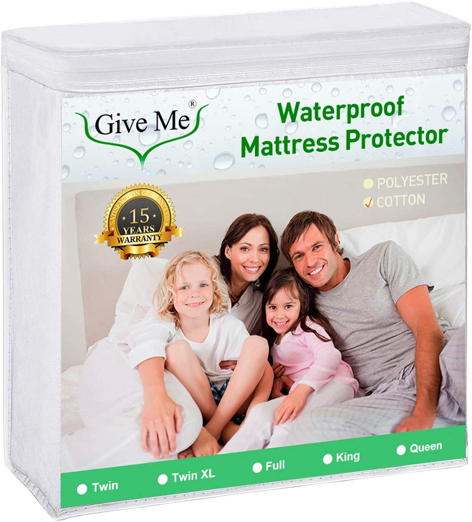 "Give Me Twin XL Size Mattress Protector, 100% Waterproof Mattress Pad Cover - Breathable Smooth Soft Cotton Terry Surface Matress Protector - Fits 14"" Deep"