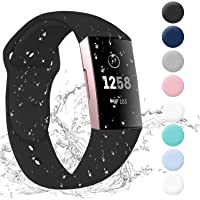 Hotodeal Bands Compatible with Fitbit Charge 3 Band, Soft Silicone Wristbands Water Proof Sport Bands for Charge 3 Accessories Women Men Small Large