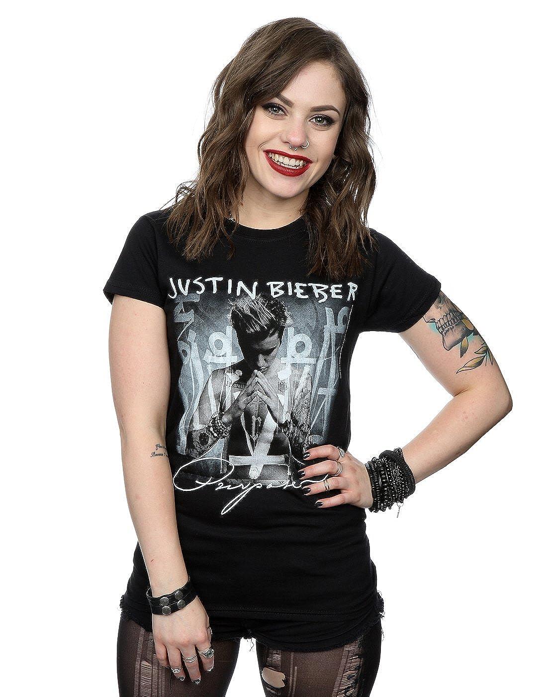 Justin Bieber mujer Purpose Album Cover Camiseta: Amazon.es: Ropa y accesorios