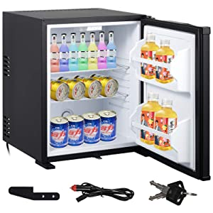 VBENLEM 1.4cu.ft 110V 12V Portable Refrigerator AC DC Silence Compact Absorption Fridge 40L Black Mini Car Cooler with Lock Reversible Door for Apartment Hotel Hospital Camping Traveling Vehicle RV