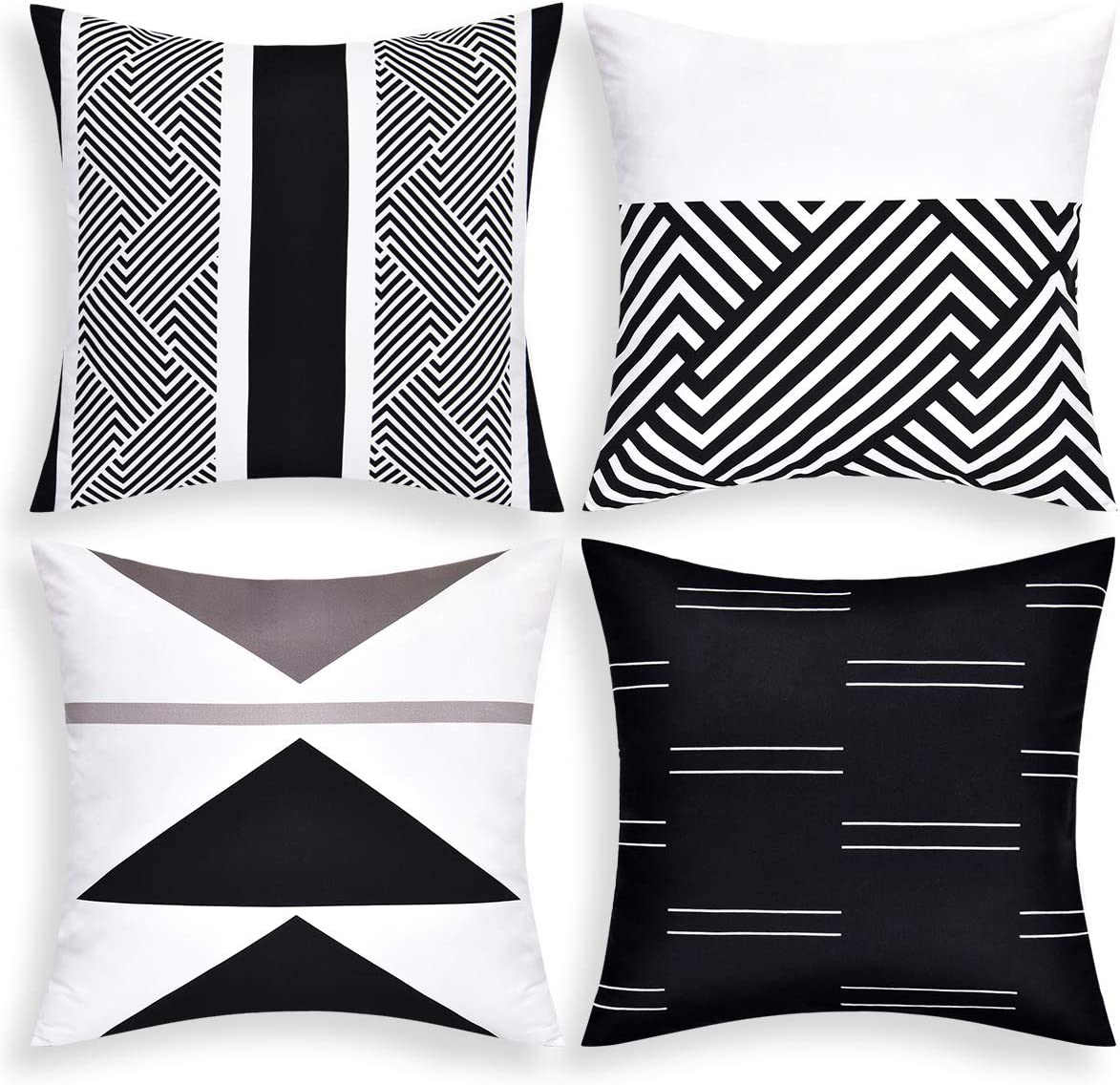 """VERTKREA Throw Pillow Covers Modern Geometric Pillowcase Set of 4 Throw Cushion Cover for Bed Couch Sofa Office Decor (Black and White, 16"""" × 16"""")"""