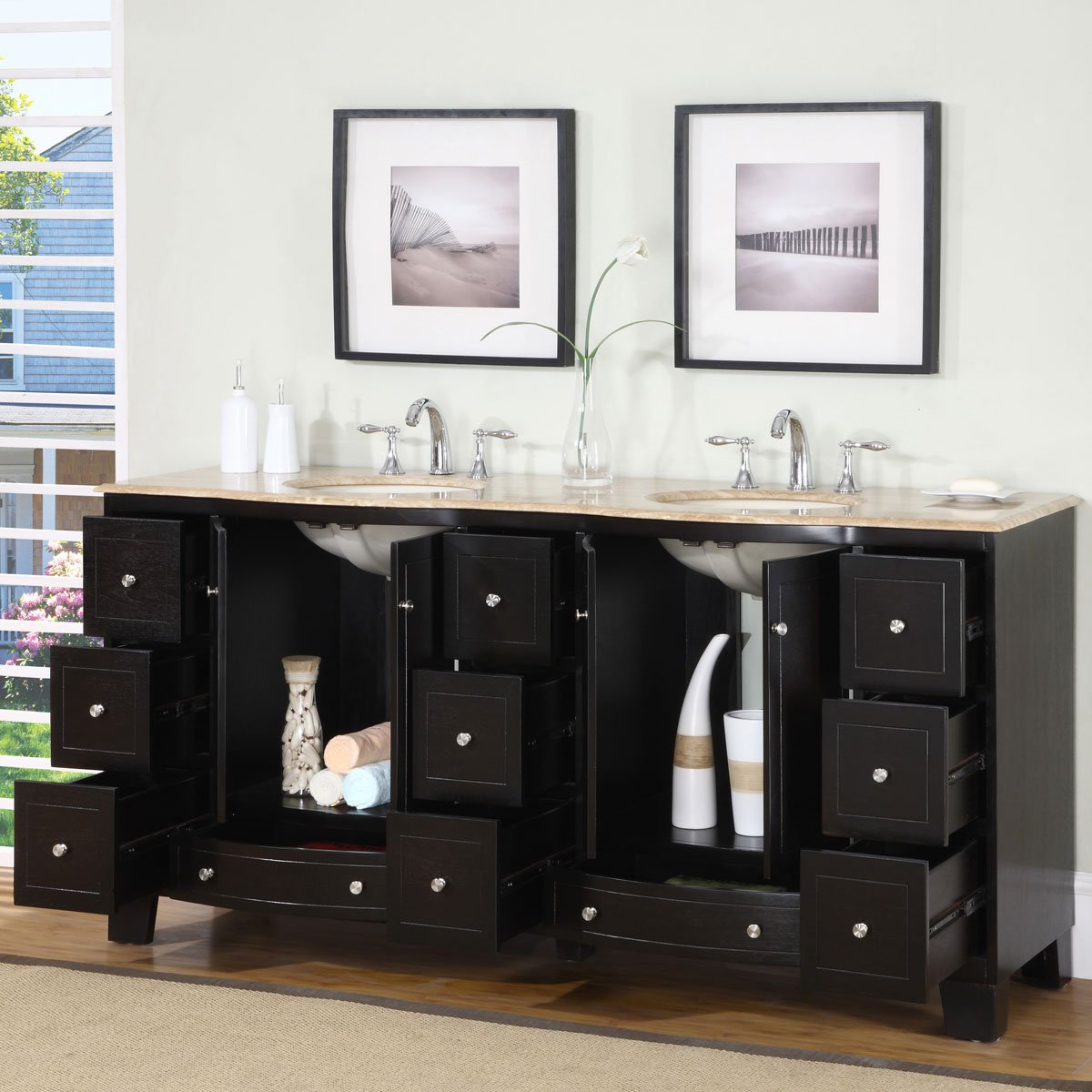 Amazon.com: Silkroad Exclusive Countertop Travertine Stone Double Sink  Bathroom Vanity With Dual Cabinet, 72 Inch: Home U0026 Kitchen