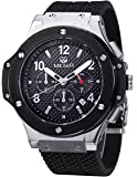 Voeons Men's Chronograph 24 Hr Indicator Military Sports Watches 3ATM Waterproof Silver Stainless Steel Mens Watches