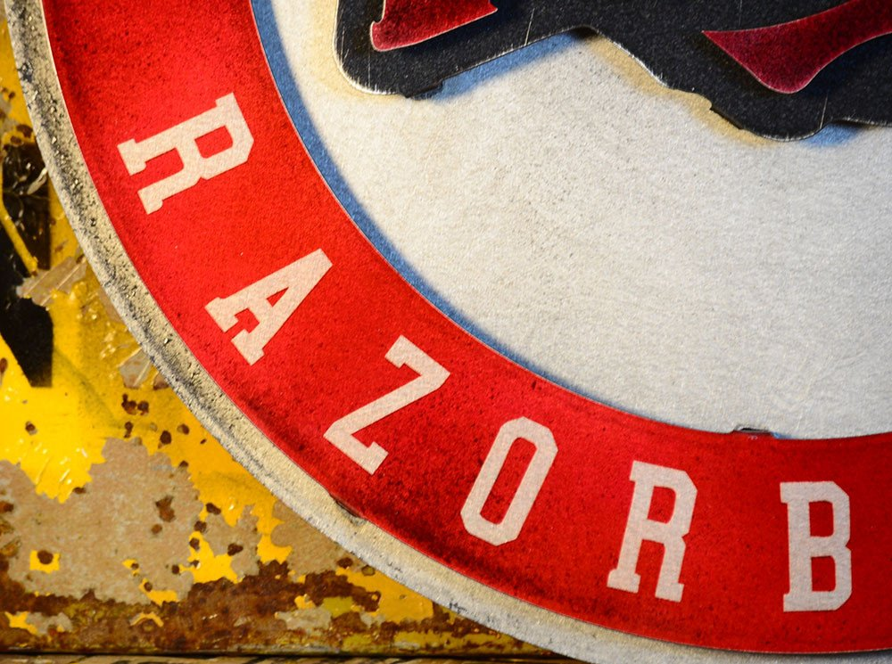 Gear New University of Arkansas Razorbacks Crest 3D Vintage Metal College Man Cave Art, Large, Red/White/Black